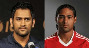 M.S. Dhoni and Glen Johnson (plays for Liverpool)
