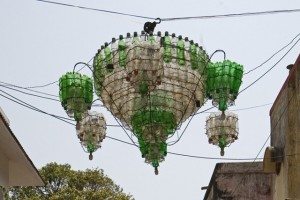 A Chandelier Made Of Plastic Bottles