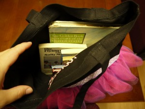 book in purse